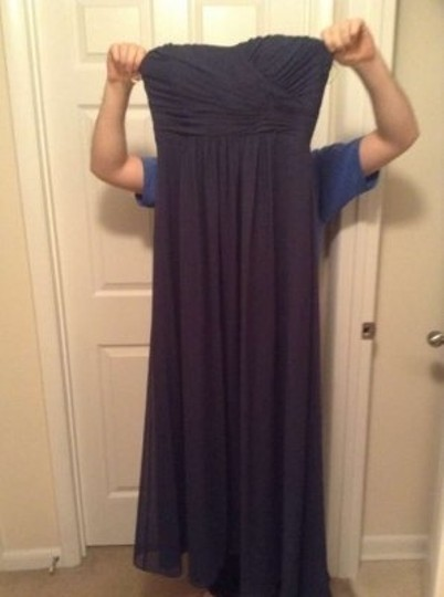 B2 Cayman Blue (Navy) Chiffon 2078 Formal Bridesmaid/Mob Dress Size 10 (M)