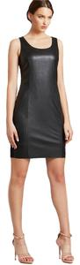 Calvin Klein Sleeveless Mini Sheath Faux Leather Date Dress