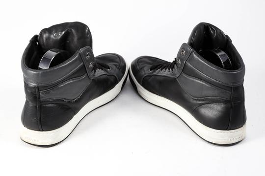 Prada High Tops Lace Up Suede Leather Black Athletic