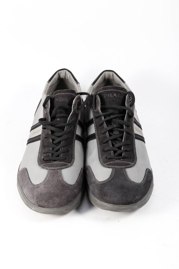 Prada Canvas Suede Black Sneakers Gray Athletic