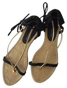 BCBGeneration Black Flat Gold Bcbg Sandals