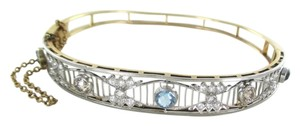 14KT YELLOW & WHITE GOLD BRACELET 30 DIAMONDS 1.50 CARAT BANGLE 13.2 GRAMS STONE