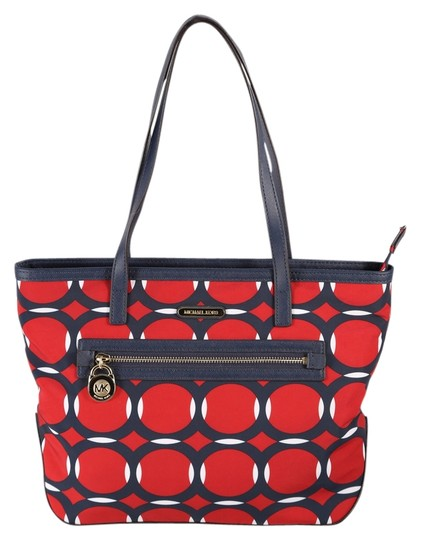 Preload https://img-static.tradesy.com/item/12908230/michael-kors-kempton-small-deco-print-shoulder-navy-bluered-nylonleather-tote-0-1-540-540.jpg