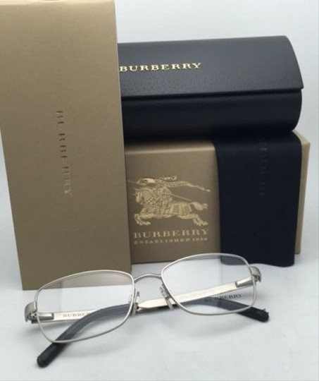 Burberry New BURBERRY Eyeglasses B 1259-Q 1159 54-16 Matte Silver Frame w/ Black Leather