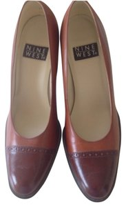 Nine West Stack Heel Two-tone Brown Pumps