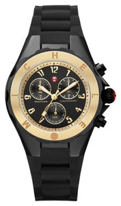 Michele NEW Michele Tahitian Jelly Bean Black Silicone MWW12F000062 Gold Ladies Watch