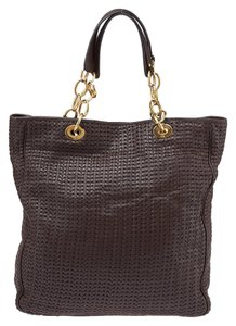 Dior Woven Leather Tote in Brown