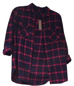 J.Crew Button Down Shirt Red and Navy