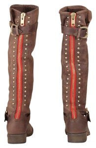 Steve Madden Red Zipper Brown/Red Boots