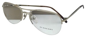 Burberry New BURBERRY Eyeglasses B 1225 1145 53-16 135 Gold & Plaid Semi-Rimless Aviator Frame w/Clear