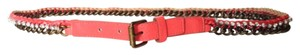 BCBGeneration Stone metal chain vegan leather coral belt. Size medium.