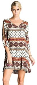 Daisy Del Sol short dress Tan, Beige Shift Boho Print Spring Summer on Tradesy