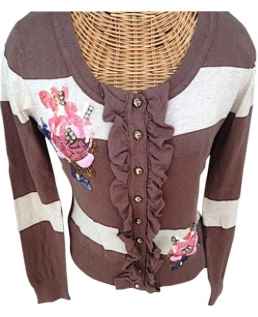 Preload https://item3.tradesy.com/images/boston-proper-brown-striped-beaded-floral-embroidered-cardigan-small-sweaterpullover-size-6-s-12909622-0-2.jpg?width=400&height=650