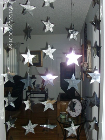 Silver Metallic Star Curtains Reception Decoration
