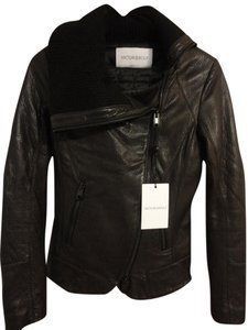 VIKTOR & ROLF Leather Moto Knit Motorcycle Jacket
