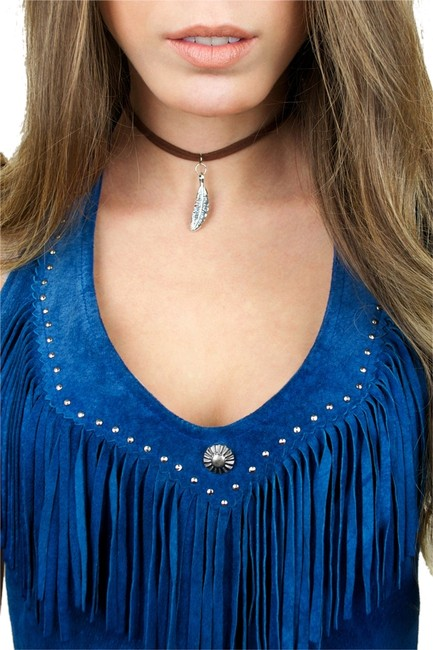 Item - Brown Turquoise Silver Double Suede Choker Charm Necklace