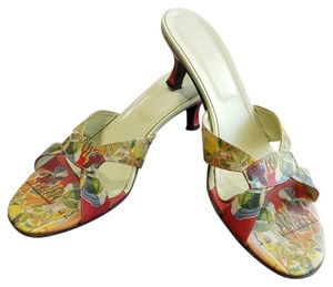 Icon Art To Wear Leather Multi - red, green, yellow blue Sandals