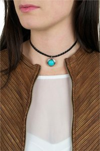 Daisy Del Sol Black Braided Leather Choker Charm Necklace