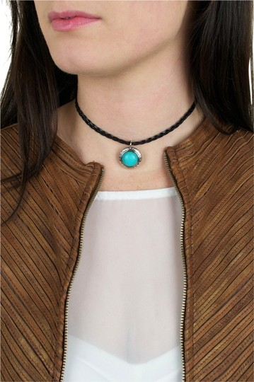 Preload https://item2.tradesy.com/images/daisy-del-sol-black-turquoise-silver-braided-leather-choker-charm-necklace-12910171-0-1.jpg?width=440&height=440