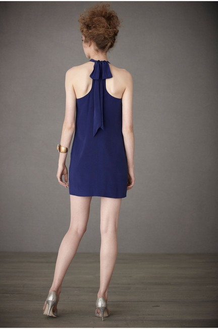 Anthropologie short dress Blue Silk Racer-back on Tradesy