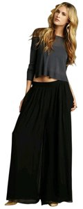Elizabeth and James Palazzo Silk Night Out Dressy Wide Leg Pants Jet Black