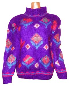 Icelandic Design Mohair Turtleneck Geometric Floral Chunky Sweater