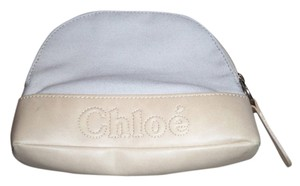 Chloé Brand New 2 tone Chloe Makeup case 6x8 size with Monogram along bottom