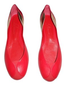 Delman D'orsay Mixed Leather Made In Spain Red Flats