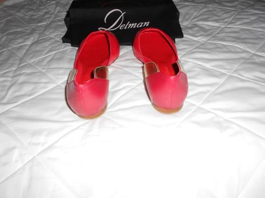 Delman D'orsay Mixed Leather Made In Spain Coral Mix Flats