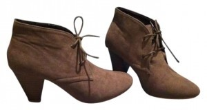 Mixx Shuz Young Ankle Lace-up Micro Suede Kitten Heels Taupe Boots