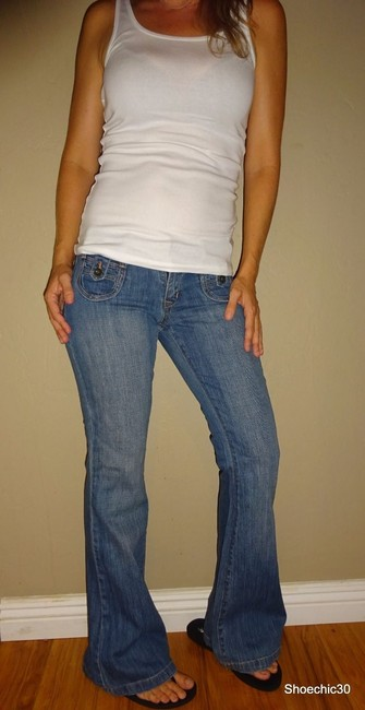 Old Navy White Love Sexy Style Fashion Fashionista Boot Diva Style Shoechic30 Flare Leg Jeans-Medium Wash