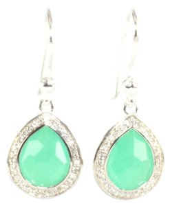 Ippolita Ippolita Silver Green Chrysoprase Diamond Small Stella Teardrop Earrings .925