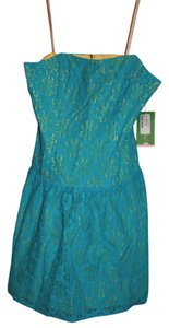 Lilly Pulitzer short dress Blue and Yellow Lace Floral on Tradesy