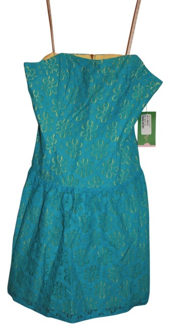 Lilly Pulitzer short dress Blue and Yellow Lace Floral Tenley Strapless Turquoise 2 Mini on Tradesy