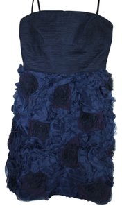 BCBGMAXAZRIA Bcbg Strapless Rosette Cocktail Navy Dress