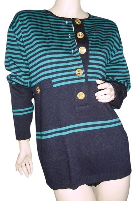 Preload https://item4.tradesy.com/images/emerald-green-and-black-couture-designer-or-teal-fashionista-style-boutique-sweaterpullover-size-10--12911653-0-1.jpg?width=400&height=650