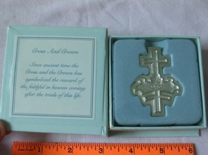 Silver Crown And Cross In Box By Lyndon Gaither For Silvestri