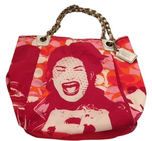 Coach Nwot Limited Edition Tote in Red/Orange/Pink/White