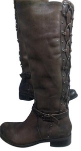 Gianni Bini Leather Studded Lacing Buckle Riding brown Boots