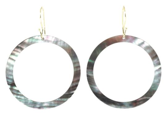 Ippolita Ippolita 18K Yellow Gold Black Shell Slice Open Circle Large Drop Hook Earrings