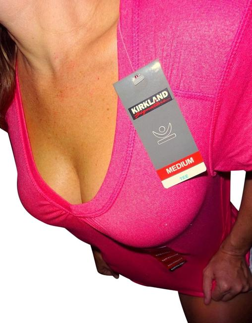 Item - Coral Red Pink | Fitness Cotton V-neck Tee Shirt Size 8 (M)
