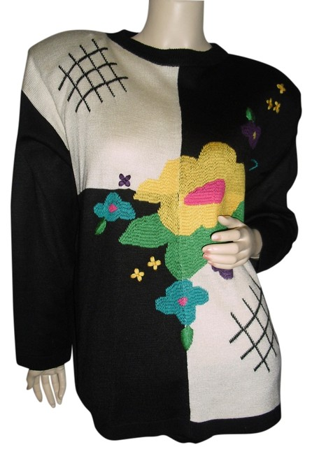 Preload https://item5.tradesy.com/images/black-w-florals-unique-couture-designer-one-of-a-kind-copies-sweaterpullover-size-6-s-12912364-0-1.jpg?width=400&height=650