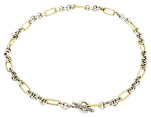 David Yurman Figaro Link Necklace in 18k Yellow Gold and 925 Sterling Silver, Length 18