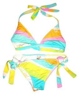 Roxy ROXY color burst striped bathing suit bikini | M | Medium