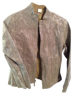 Chico's Silver/gold Leather Jacket