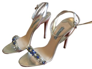 Prada Strappy Jeweled Silver and blue Sandals