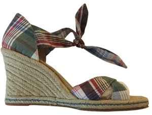 Tommy Hilfiger Wedge Casual Comfortable Blue Plaid Wedges