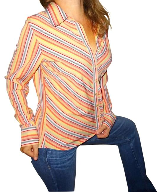 Preload https://item4.tradesy.com/images/ninety-yellow-black-white-orange-womens-dress-career-blouse-shirt-m-medium-pinstripes-button-down-to-12913333-0-2.jpg?width=400&height=650