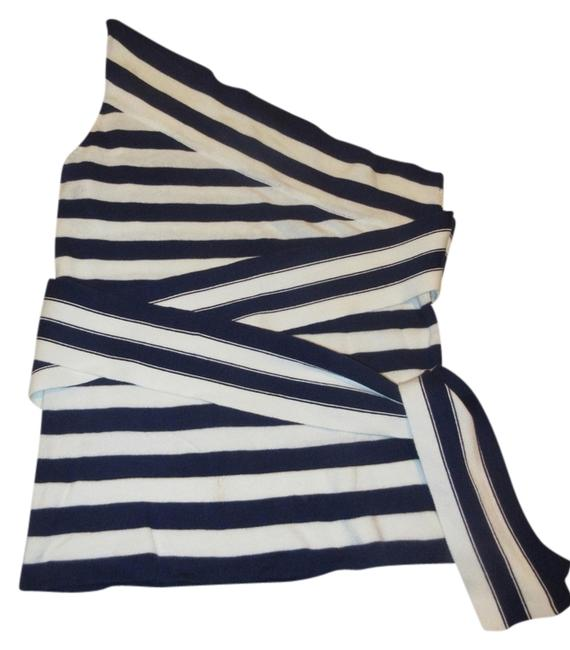 Item - Wrap Around Side Tie One Shoulder Navy & White Striped Top