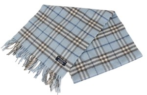 Burberry Burberry London Light Blue Nova Check Plaid 100% Cashmere womens Scarf